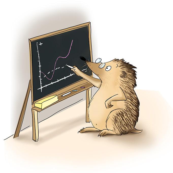 illustration d'un hérisson à lunettes écrivant qui trace à la craie une courbe de stastique sur un tableau d'école en ardoise