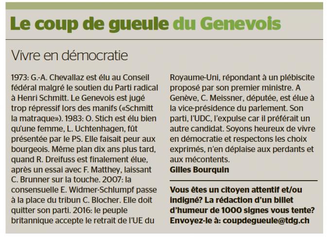 Coup de gueule Tribune de Genève 1er juillet 2016